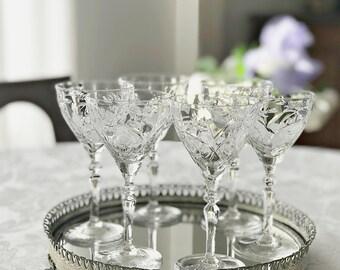 6 Rock Sharpe Crystal Liquor Cocktail Glasses Stemmed Cocktail Etched Crystal Stemware
