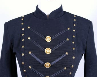Black Military Style Dress with Medusa Button 1980/90's