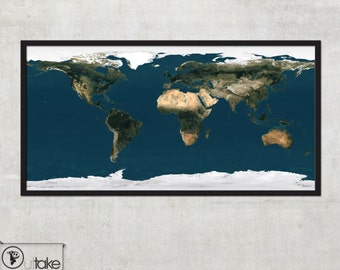 Map of the World - Satellite Earth map - LARGE wall map -  044