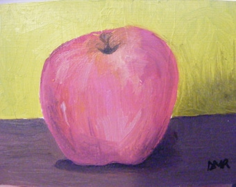 Red Apple--original oil painting--ACEO