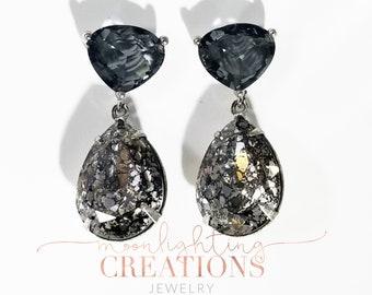Black Diamond Patina Swarovski Crystal, Earrings, Bridal, Great Gatsby Style
