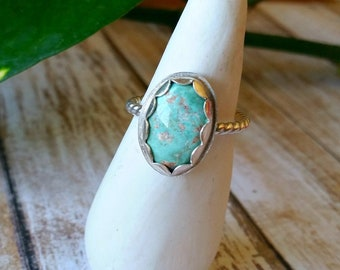 Scalloped Turquoise Stacking Ring - Size 7.75 US