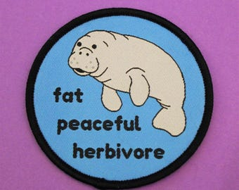 Fat peaceful herbivore manatee patch /// vegan vegetarian body posi positive peace iron on patches badge sea political gift uk