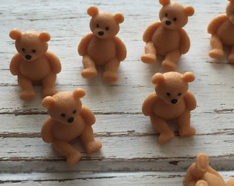Micro Mini Teddy Bears, Set of 12 by Miniature Corner, Plastic Bears, Mini Teddies, Crafting, Favors, Gifts, Embellishments