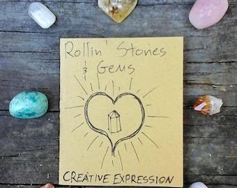 Creative Expression Stone Kit Rose Quartz Rhodochrosite Citrine Points Chrysocolla Moonstone Amethyst