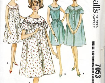 1960's Robe and Sleeveless Nightgown Pattern, McCall's 7053, Size 14, Bust 34