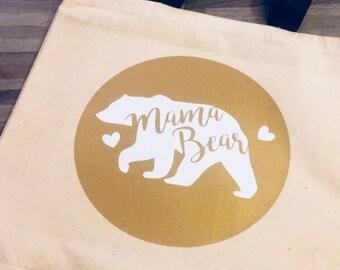 Mama Bear Canvas Market Tote Bag