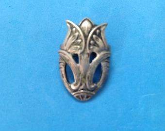 Vintage! Vintage antique unmarked silver silver tone slide for bolo tie Art Nouveau