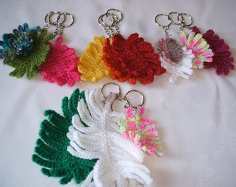 Crochet feather keyring - can be personalised