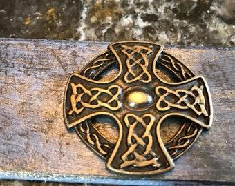 Celtic Cross Leather Bracelet