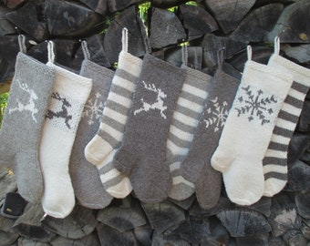 """Knit Christmas Stockings ~19"""", ~20"""" Personalized Hand knit Wool White Gray Dark Gray Deer Snowflake Stripes ornaments Nordic style  gifts"""