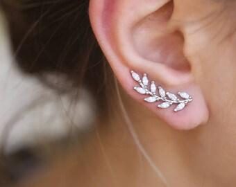Silver Olive Vine ear climber, Leaf ear crawler, Leaf ear climbers, Sterling Silver ear cuff Ear Climbers Wedding earrings,crawler earrings