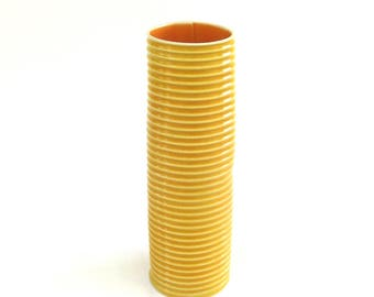 mid century modern hand built porcelain vase  ...  bold yellow and orange vessel