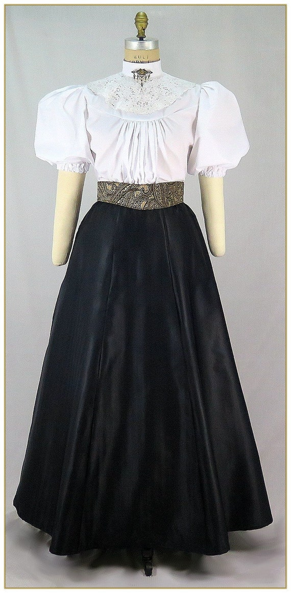 1890s-1900s Fashion, Clothing, Costumes Victorian Black Herringbone Weave Taffeta Skirt $59.00 AT vintagedancer.com
