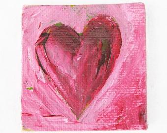 Heart Painting Red Heart Abstract Fridge Magnet Art Original Acrylic From the Heart Kathleen Daughan Western Avenue Artist Massachusetts Art