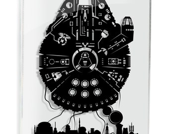Star Wars The Millenium Falcon Han Solo Mos Eisley Millennium Falcon Rey star wars art paper cut papercut gifts for him Will Pigg FRAMED