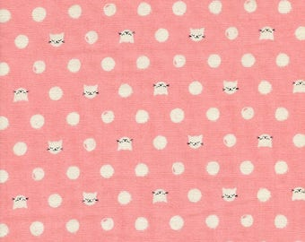 Cat Lady Double Gauze Fabric, Cotton Steel Fabric, Cotton Steel DOUBLE GAUZE,  Sarah Watts, Cat Lady Friskers Pink, Cat Fabric, Kitty Fabric