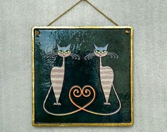 Embossed Ceramic Wall Hanging Art, two cats, love, decorative