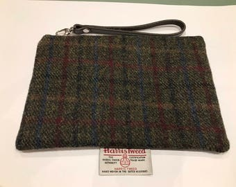 Harris Tweed and Leather Clutch Bag, Plum & Green Harris Tweed,  - everyday/evening bag, personalised clutch, Mother's Day gift