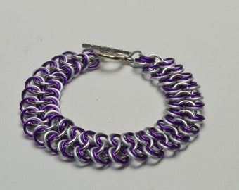Purple and Frost Anodized Aluminum Chainmaille Bracelet