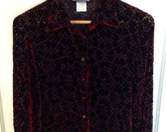 Vintage 90s Velvet-Embossed Sheer Blouse