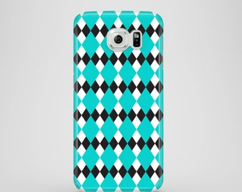 Turquoise Argyle Samsung Galaxy S7 case, iPhone X, mint iPhone 8, iPhone 7, iPhone 6S, 6, iPhone 5, 5S, SE, Samsung S6, S6 Edge, S5
