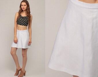 White Mini Skirt High Waisted 70s Mod Skirt A LINE Skirt Tennis Skirt Aline Plain Preppy Retro 1970s Vintage Flared Small