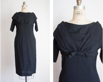 HOURGLASS 1950s 1960s cocktail little black dress / vintage / size medium or large