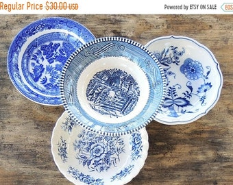 ON SALE Mismatched Blue White Transferware Dessert Bowls Set of 4 Bowls Tea Party Sauce Bowls Wedding Berry Bowls Replacement China