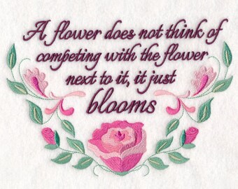 INSPIRATIONAL SENTIMENT Pretty FLORAL Wording Machine Embroidered Quilt Square, Art Panel