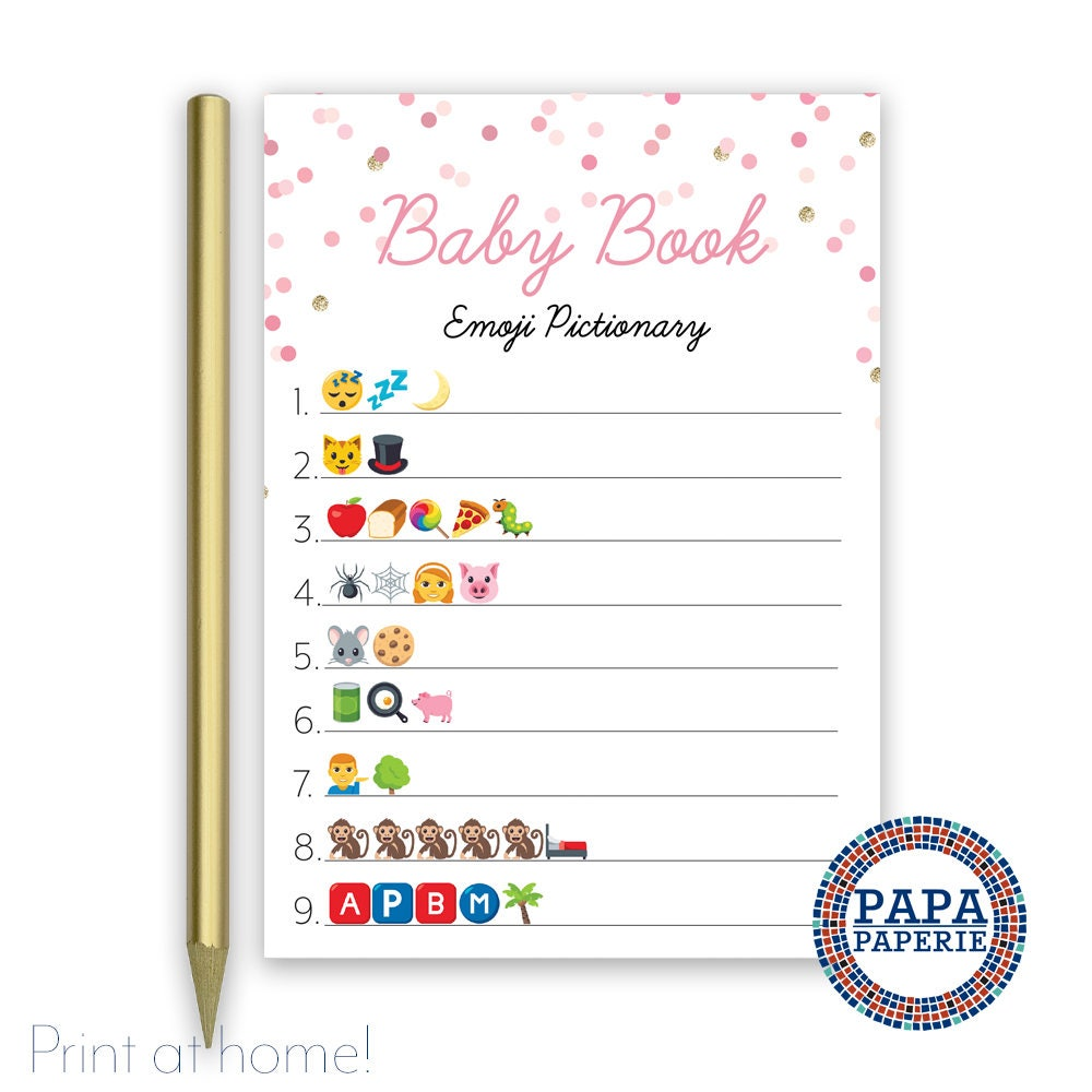Baby Shower Game Baby Book Emoji Pictionary Baby Girl 5x7