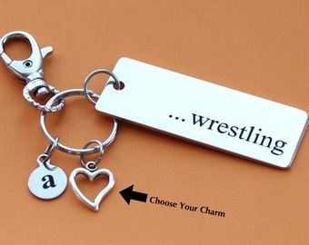 Personalized Wrestling Key Chain Stainless Steel Customized with Your Charm & Initial -K542