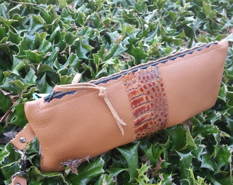 Saddle Leather Clutch with Croc Accent