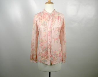 Vintage Pink Printed Blouse