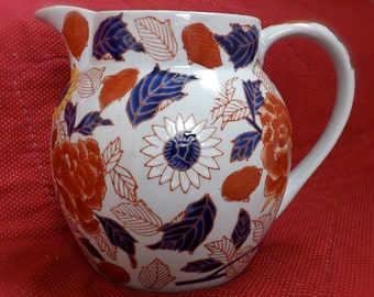 Vintage Ironstone Pitcher With Red Blue Decoration_Large Ironstone Pitcher_Mason's Ironstone Chinoiserie Pitcher_Orange And Blue Flowers