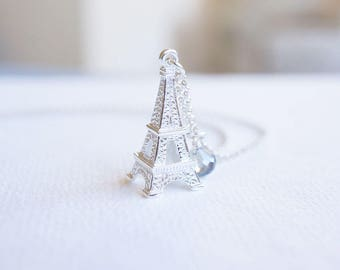 Necklace, Eiffel Tower Jewelry, Silver Necklace, Crystal Necklace, Paris Necklace, Blue Necklace, Handmade Necklace, Gift for Her, Gift