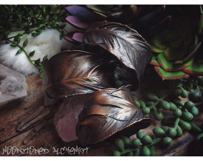 REAL Electroformed Copper Feather Cuff Bracelet - Luscious Copper Electroformed Real Feather Statement Piece - Organic Rustic Copper Jewelry