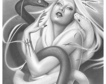 Aeternalis - Art Print 11x17 Fantasy Dark Goddess Art in Graphite