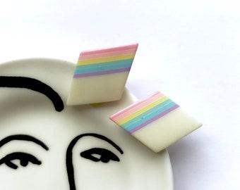 Rainbow Pastel Vintage Earrings / Geometric Diamond Shape Earrings / Rainbow Striped 80s Pastel Earrings / Happy Statement Earrings