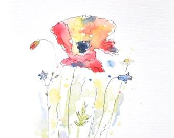 Watercolor Poppy Painting, Original Watercolor Flower Painting, Nursery Art Wall Decor, Home Decor, Flower Wall Art, Original Painting