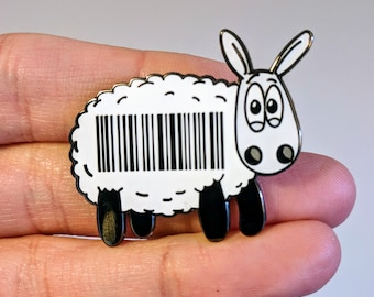 Baaa code! (v2) Enamel pin, Cute sheep enamel pin, Sheep gift, Pin badge, Knitters gift, Knitting gift, Lapel pin, Funny badge, Pun gifts