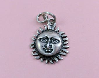 Vintage Sterling Silver Sun Pendant Add Some Sunshine To Your Life (or Someone You Know) Fun Detail Face in a Fiery Sun Necklace Pendant