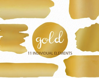 Gold watercolor clip art - Watercolor splashes - logo clipart - watercolor brush strokes - instant download - Commercial Use