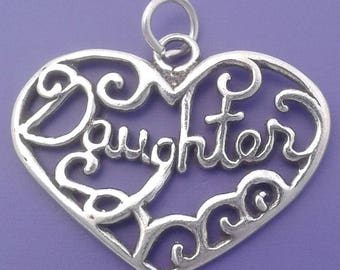 DAUGHTER HEART Charm .925 Sterling Silver Pendant - lp3390