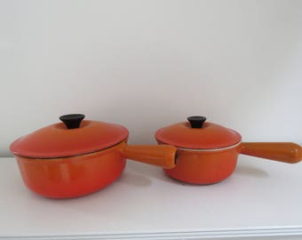 Le Creuset Flame Orange Saucepan Pot French Enamel Cast Iron Cookware Sizes #16 & #20 Available Made in France