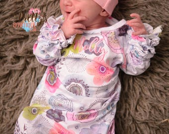Coming home outfit girls Monogram gown~Monogramed newborn gown- Floral pink