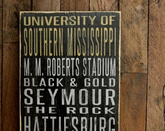 University of Southern Mississippi Golden Eagles Distressed Wood Sign--Great Father's Day Gift!