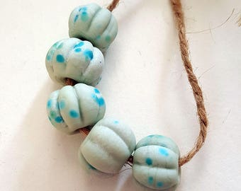 Speckled Eggs - Handmade Artisan Lampwork Glass Bead Set in Pale Spring Blue