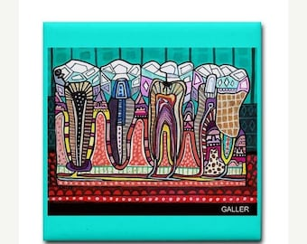 SALE ENDING- Dental art tile print on ceramic by Heather Galler abstract anatomy science Dentist Teeth Tooth folk Art (HG858)