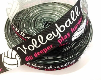1 inch Volleyball Dig Deeper Play Harder on Black Balls Sports Printed Grosgrain Ribbon for Hair Bow